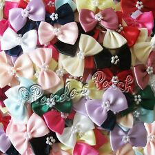 Satin Ribbon Bow Ties with Pearls - Choose Colour & Pack Size - Free Postage