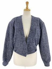 Vintage Salvatore Ferragamo Women's Wool Bomber Balero Jacket Made in Italy 90s
