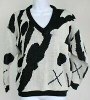 Vintage 80's women's large wool blend black white art deco knit sweater