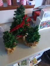 3 Burlap Bagged Artificial Christmas Trees for Village Display