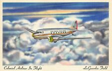 LaGuardia Field Ny Colonial Airliner In Flight Postcard