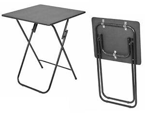 Folding Wooden TV Table Fold Side Dinner Laptop Tray Coffee Picnic Tea Desk BLK