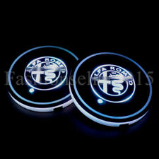 2PCS for Alfa Romeo LED Car Cup Holder Pad Mat Auto Atmosphere Lights Colorful