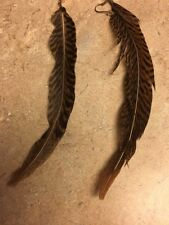 Bohemian Style Brown Pheasant Feathers Dangle Earrings 7 In Feather Brown Black