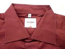 E7916 Olymp Luxor Businesshemd Kombimanschette 41 dunkelrot Unifarben Neuwertig
