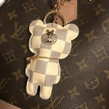 Designer inspired Bling Teddy Bear Checkered Tassel KeyChain Bag Charm  keychain