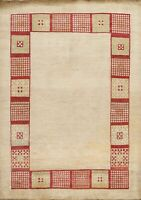 Modern Bordered Gabbeh Kashkoli Oriental Area Rug Hand-knotted Contemporary 6x7