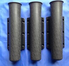 FISHING ROD HOLDERS X3 MATT BLACK PLASTIC SIDE MOUNTED 230mm x 45mm BOAT SAIL