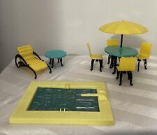 Vintage Dollhouse Furniture Lot of 8 Plasco Patio Furniture & Plasticville Pool