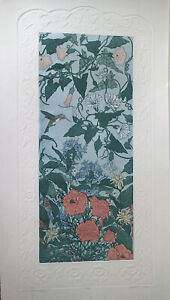 Judith Hall Wild Flowers II H/C etching flowers with hummingbird-retails $150