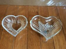 Pair Of Mikasa Thick Glass Heart Shaped Candy Dish Bowl valentines day