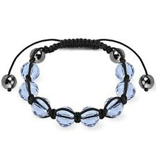Shamballa Bracelet with Light Blue Faceted Ball and Metallic Beads K146
