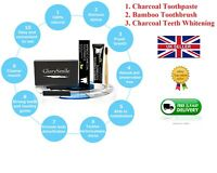 Bamboo Activated Charcoal Toothpaste Teeth Whitening 28 Strips/ 14 pack/ brush