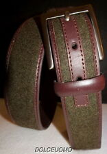 "NEW $98 men TRAFALGAR SZ 38 LEATHER FABRIC BELT LODEN DARK BROWN 1 1/4"" WIDTH"