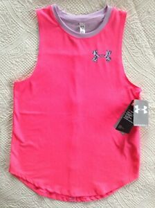 Girls Kids Youth Under Armour Pink lilac Tank Top  NEW Size XL