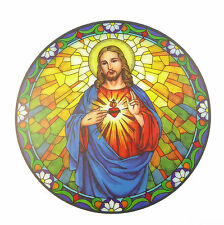 "Sacred Heart suncatcher stained glass window sticker reusable 6"" sun catcher"