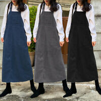 Plus Size Women Strap Corduroy Pinafore Maxi Dress Winter Dungaree Bib Kaftan UK