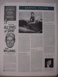 1953 Ted Williams Baseball Star Ad Atlantic Bond Paper Vintage Print Ad 10481