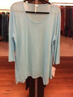 Large Lulu B Blue Striped Asymmetrical Tunic Retail $49