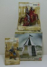 NEW SCHLEICH MEDIEVAL SET + FIGURES LOT TOURNAMENT TENT MACE KNIGHT PRINCE HORSE
