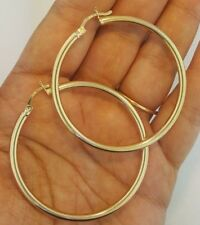 "14K Yellow Gold 3 mm Round Hollow Hoop Earrings Snap Closure 2.3"" inches 6.4 gr"