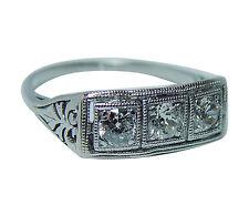 Antique Art Deco Platinum Old European Diamond 3 stone Ring Estate