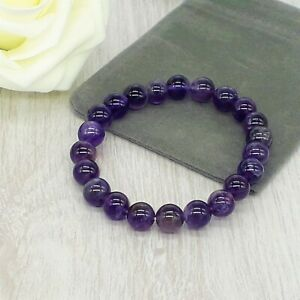 Handmade Natural Amethyst Gemstone Stretch Bracelet & Velvet Pouch. 4/6/8mm.