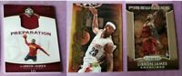 LEBRON JAMES GAME USED JERSEY card #d99+ UD ROOKIE CARD + PRIZM FIREWORKS INSERT