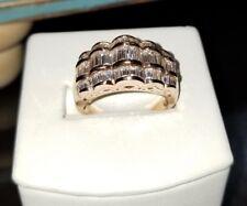 Ross Simons 18k Rose gold vermeil sterling silver wide baguette 3 row cz ring