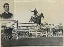 """Cap. F. Caprilli con cavallo """"Melopo"""" Vintage Printphoto montage Photo monta"""