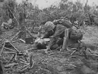 WWII B&W Photo Wounded US Marine Peleliu  World War Two Pacific USMC  WW2 / 1123