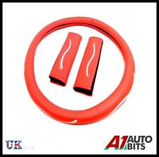 RED STEERING WHEEL COVER WITH SEAT BELT PADS GLOVE SLEEVE FOR BMW CITROEN DACIA