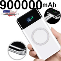 NEW 900000mAh Qi Wireless Power Bank 2 USB Fast Charging Battery Charger Pack US