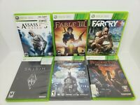 Lot Of (6) - Xbox 360 Games Resident Evil,Batman,Skyrim,Fable 3,Farcry 3,Assassi