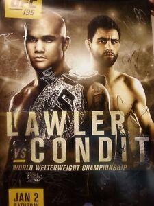 UFC 195 LAWLER VS.CONDIT signed poster    plus undercard signatures