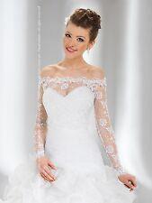 Womens Bridal Ivory/White Lace Over-top Bolero Shrug Wedding Jacket UK Size 8-16