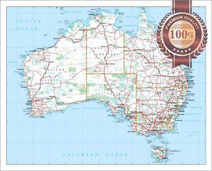 LARGE DETAILED MAP OF AUS AUSTRALIAN ROADS ATLAS WALL PRINT PREMIUM POSTER