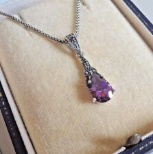 Sterling Silver Amethyst and Marcasite Pendant Necklace