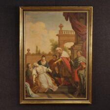 Antico dipinto religioso quadro olio su tela arte sacra cornice 700 XVIII secolo