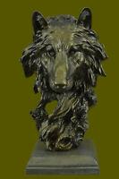Large Wild Animal Life Wolf Dog By Barye Statue Figurine Bronze Sculpture Decor