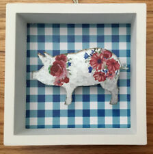 pioneer woman 5 x 5 blue gingham box with Metal pig