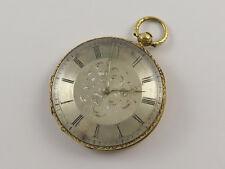 Reloj De Bolsillo Antiguo Oro 18k Quatre JOYAUX LEPINE clave Viento Esfera Plateada
