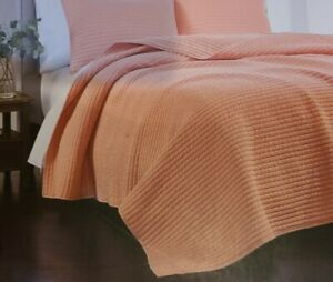 Martha Stewart Collection TWIN Washed Rice Stitch Quilt CORAL PINK $160