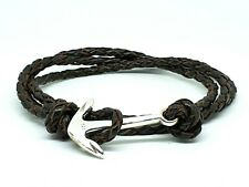 MEN'S STERLING SILVER 925 ANCHOR BROWN LEATHER ADJUSTABLE JEWELRY WRAP BRACELET