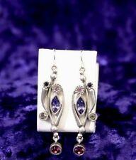 Gorgeous Patricia Locke FIRE Earrings PURPLE RAIN Swarovski Silver plate NWOT
