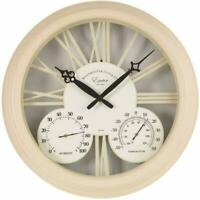 Outdoor/Indoor Garden Wall Clock Thermometer & Humidity Gauge Vintage Cream 15""