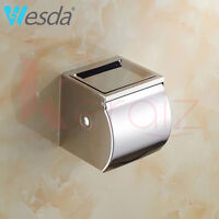 Wall Mounted Chrome Toilet Paper Roll Holder Stainless Steel Bathroom Tissue Box