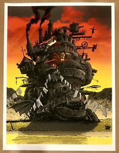HOWL'S MOVING CASTLE SCREEN PRINT RED SKY VARIANT BY TIM DOYLE SIGNED #12/30