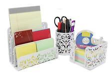 EasyPAG Carved Hollow Flower Pattern 3 in 1 Desk Organizer Set - Letter Sorter,
