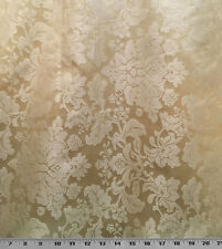 "Drapery Upholstery Fabric Tone on Tone Floral Damask 114"" W - Lt. Gold"